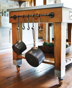 timber kitchen island with zinc top <3