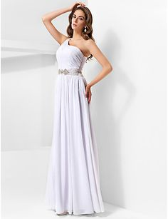 Formal Evening/Military Ball Dress - White Plus Sizes A-line/Princess One Shoulder Floor-length Chiffon – GBP £ 72.99