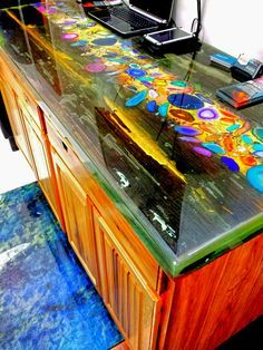 Counter Top Created Out From Barn Wood, Geodes, And FX Poxy