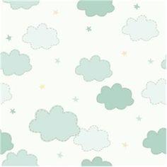 Papel de Parede Adesivo - Nuvens e Estrelas - 027ppb - Papel de Parede no Pontofrio.com