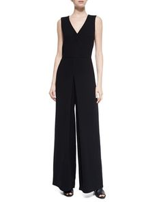 Double-V Solid Jumpsuit, Black at CUSP.