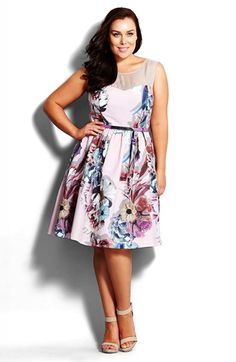 City Chic 'Dusty Rose' Fit & Flare Dress (Plus Size) available at #Nordstrom