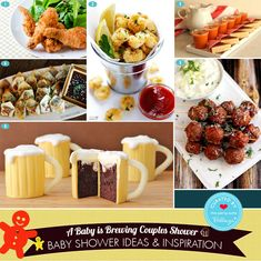 "How to Plan a Fun ""A Baby is Brewing"" Beer Themed Couples Shower. Your Complete Guide to Decorations, Favors, Invitations, and Comfort Food to Serve Guests. Mug Cupcake, Cupcake Favors, Chicken N Beer, Fried Chicken, Popcorn Shrimp, Couple Shower, Beer Brewing, Cool Baby Stuff, Baby Shower Themes"
