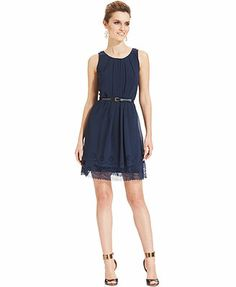 Jessica Simpson Sleeveless Belted Laser-Cut Dress