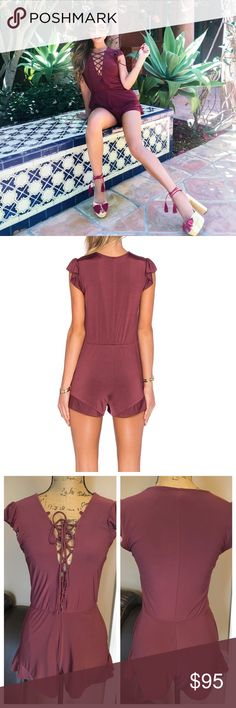 NBD Rhythm Romper * Short romper * Lace up tie detail at front * Ruffled cap sleeves * Elastic waistline * Ruffled hemline ✨94% polyester & 6% spandex ✨True to size with a loose fit.  ❗️There is a small spot where the stitching is a little loose at the top by the tag (pictured above) but is not noticeable when worn.  Cover photo creds goes to Jessi Malay NBD Pants Jumpsuits & Rompers