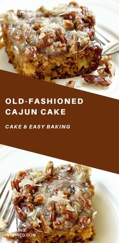 Old-Fashioned Cajun Cake - An EASY cake recipe filled with crushed pineapple and topped with a warm coconut pecan glaze. Old-Fashioned Cajun Cake - An EASY cake recipe filled with crushed pineapple and topped with a warm coconut pecan glaze. Köstliche Desserts, Delicious Desserts, Dessert Recipes, Yummy Food, Cajun Desserts, Pudding Desserts, Healthy Cake Recipes, Sweet Recipes, Coconut Recipes