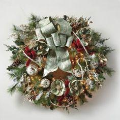 Silver & Sage Pre-Lit Decorated Wreath