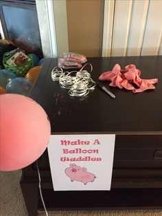 Make a Waddles balloon table. Gravity Falls birthday party.
