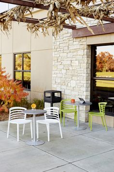"""Take your work outdoors. With its seamless design that keeps moisture out and durable, UV, heat and scratch resistant powder coat finish, the Entourage table will stand up to whatever you and Mother Nature throw at it. Available with 24"""" or 32"""" tabletops. #table #patio #outdoors #lunch #dinner #sunshine #outside #family #summer #spring #brunch #spring #fall #eat #chair #deck #nature"""