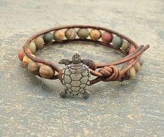 Rustic Turtle Jewelry Semi Precious Red Creek Jasper Beaded Leather Bracelet Colorful Turtle Bracelet