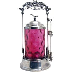 Silver Plated Pickle Castor with American Eagle Finial and Inverted Thumbprint  Cranberry Glass Insert