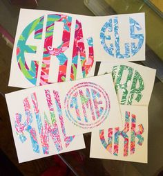 Lilly Pulitzer Monogram Decal Sticker DIY by GirlAndHerDogShop, $8.00 CUTE