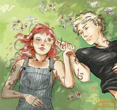 """leenieh: """" Clary x Jace - summer It's been a while since i drew these two lovelies :) """" cute!"""