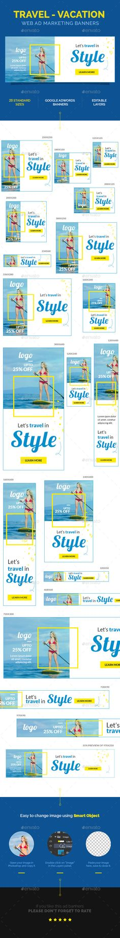 A set of Travel – Vacation Web Ad Marketing Banners is comes with 20 standard dimensions which also meet Google adwords banners sizes. It included all the layered psd file where you can easily change its text, color & shapes as per your requirements.