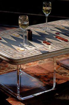 Backgammon table.