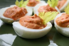 Deviled eggs with roasted red pepper hummus recipe