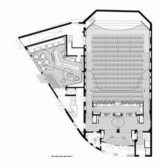 Image 13 of 16 from gallery of Filmtheater Weltspiegel Cottbus / Studio Alexander Fehre. Auditorium Plan, Auditorium Architecture, Theater Architecture, New Architecture, Theater Plan, Movie Theater, Sequence Photography, Floor Plan Sketch, Ing Civil