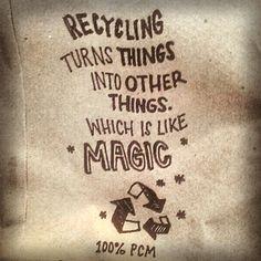 Reciclar convierte cosas en nuevas cosas. ¡Es como magia!