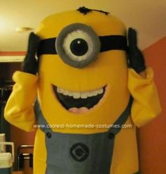 DIY Despicable Me Minon Halloween Costume: For this DIY Despicable Me Minon Halloween costume I first started with one inch foam sheet to form top of body. I then used yellow felt to cover body.