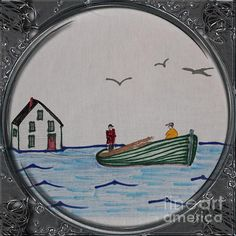 Newfoundland Resettlement - Porthole Vignette Drawing by Barbara Griffin Plywood Boat Plans, Wooden Boat Plans, Wooden Boats, Buy A Boat, Diy Boat, Wooden Boat Building, Boat Building Plans, Newfoundland Map, Used Boats