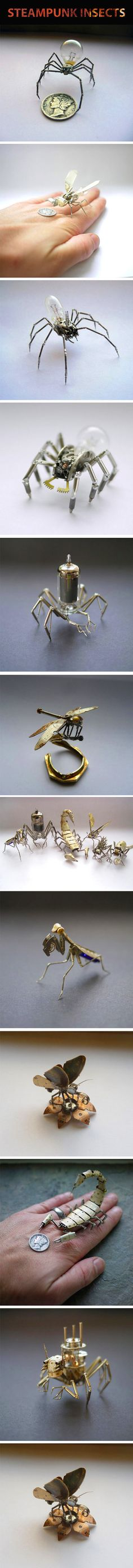 Tiny mechanical insects made out of watch parts…
