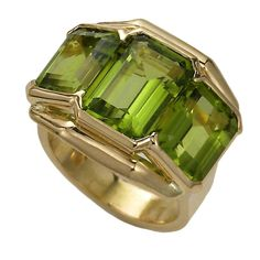 Peridot Gold Ring | From a unique collection of vintage fashion rings at http://www.1stdibs.com/jewelry/rings/fashion-rings/