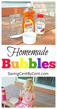 These homemade bubbles are inexpensive to make and it's a fun summer activity for kids. These homemade bubbles are inexpensive to make and it's a fun summer activity for kids. Summer Crafts For Kids, Crafts For Kids To Make, Summer Kids, Fun Crafts, Xmas Crafts, Summer Activities For Kids, Science For Kids, Toddler Activities, Camping Activities