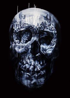 Skull Optical Illusion by Tom French Optical Illusion Paintings, Optical Illusions, Memento Mori, 3d Art, Skull Pictures, Wild Pictures, Illusion Art, Illusion Pics, Skull Design