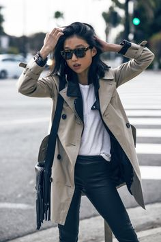 Margaret Zhang Shine by three  Coach Mid-Length Trench Coat Bassike White Tee Rebecca Vallance Leather Pants Acne Jensen Boots Coach Dakota Fringe Flap Bag Pared Eyewear Sunglasses #streetstyle