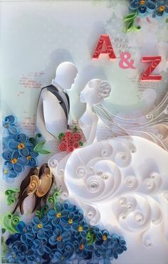 Quilling Bride and Groom / Gifr for couple / Wedding by QllArt