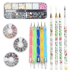 Gellen Nail Art Decoration Set of Doting Pen   Nail Art AB Rhinestones   Jewelry   Brush Pen Multi-style Various Size Perfect Nail Art Kit -- Check out this great product.