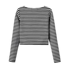Yoins Stripe Cross Front Crop Top ($23) ❤ liked on Polyvore featuring tops, yoins, clothes - tops, crop top, shirts, black, striped top, striped crop top, long sleeve tops and crop shirt