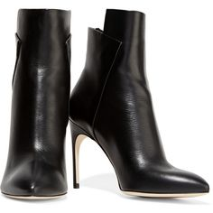 Sergio Rossi - Paneled Leather Boots (3,585 CNY) ❤ liked on Polyvore featuring shoes, boots, black pointy toe boots, leather high heel boots, pointed-toe boots, black pointed toe boots and high heel boots
