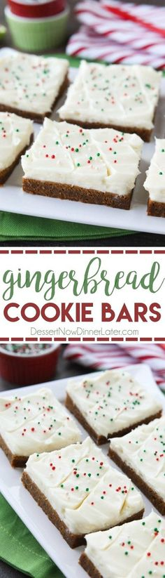 Gingerbread Cookie Bars have a soft and chewy, spiced molasses cookie base topped with the BEST cream cheese frosting. Add red and green sprinkles or nonpareils for a festive Christmas dessert!