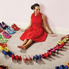 Stock Photo : Woman surrounded by perfect shoes On Shoes, Me Too Shoes, Funky Shoes, Colorful Shoes, Flat Shoes, Shoes Heels, Girls Best Friend, Kids Rugs, Summer Dresses