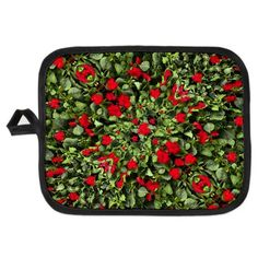 Flowers and Plants Pattern Potholder  #potholder, #home, #decoration, #design, #nature pattern, #flora pattern, #red and #green,