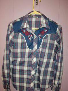 Vintage Sears Jr Bazaar Cowgirl Western Pearl Snaps Women's Shirt Small Medium   eBay