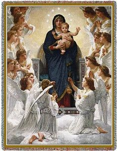 Mary, Baby Jesus and Angels Art Tapestry Throw