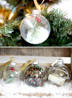 DIY handmade ornament tutorial by Ruche filled with tinsel, snow, and mistletoe.