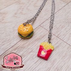 Duo Best Friends Fast Food Washer Necklace, Pendant Necklace, En Stock, Ladybug, Bugs, Best Friends, Jewelry, Food, Fashion