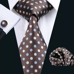 "This is a very nice coordinating  brand new silk tie set. Includes tie, pocket square (handkerchief) and cuff links.  Makes a great gift idea!     Tie length is 61"" from top to bottom. The width at the largest portion is 3.25"".    ✨Please note, this item requires three (3) weeks to ship. Please take the shipping time into consideration when placing your order. Thank you ✨    This item is available for International shipping.  