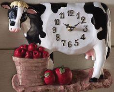Betsy Farm Kitchen Cow/apples Wall Decor Clock New Farm Kitchen Ideas, Cow Kitchen Decor, Turquoise Kitchen Decor, Cow Decor, Kitchen Clocks, Kitchen Decor Themes, Wall Decor, Country Kitchen, Cow Ornaments