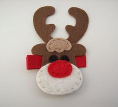 Christmas hair clip with felt Rudolph reindeer hair by heartcakes, $2.95
