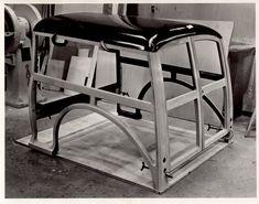 Morris Traveller wood frame. Original factory photo.