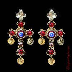 Chandelier earrings, Red Cross Swarovski Earrings, Dolce Earrings, Byzantine Woman Earrings, coins earrings