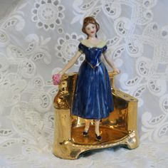 Vanity Hat Pin Holder Young Girl/ Vintage Hat Pin Holder/ Edwardian Era by TwoCousinsCollection on Etsy