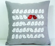 Lovebirds in a cushion. All the little birdies are made from felt and sewn by hand.