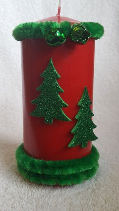 Red Christmas with trees and bells from welshwaxesandcrafts.co.uk