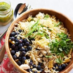 This Blueberry Corn Orzo Salad is full of fresh summer flavor in every bite! See more healthy blueberry recipes: http://www.bhg.com/recipes/healthy/healthy-blueberry-recipes/?socsrc=bhgpin080813blueberryorzo=1