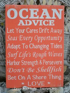 Beach Decor Advice Ocean Beach Sign Beach Nautical Coastal Theme Inspirational Fun Quote Sayings Gift Coral Peach Orange